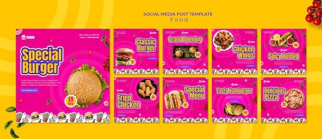 Specjalny post w mediach społecznościowych z burgerami