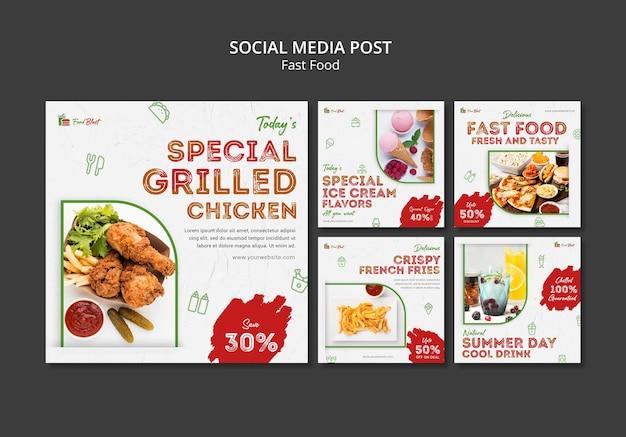 Specjalny post w mediach społecznościowych z grillowanym kurczakiem