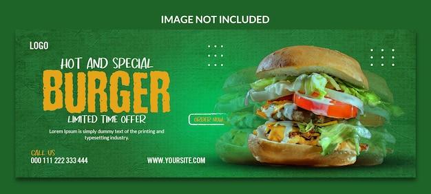 Specjalny projekt szablonu okładki na facebooka z pysznym burgerem
