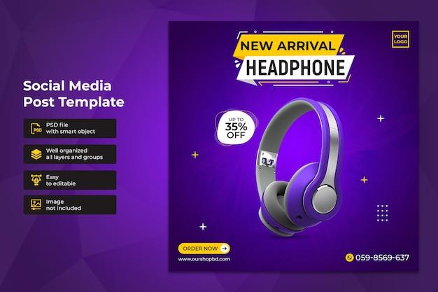 Specjalny projekt szablonu postu sprzedaży słuchawek