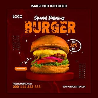 Specjalny projekt szablonu postu w mediach społecznościowych z pysznym burgerem