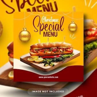 Specjalny świąteczny menu z burgerami promocja w mediach społecznościowych szablon banera postu na instagramie