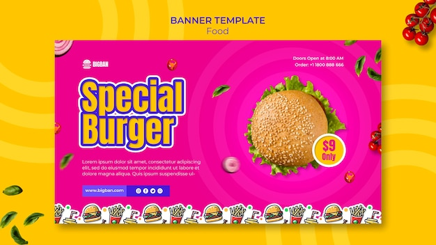 Specjalny szablon banera z burgerami