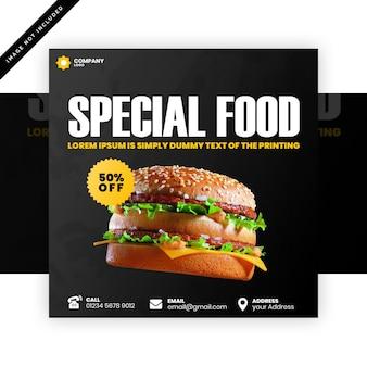 Specjalny szablon kwadratowy baner żywności
