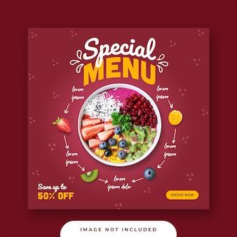 Specjalny szablon menu mediów społecznościowych instagram post banner banner