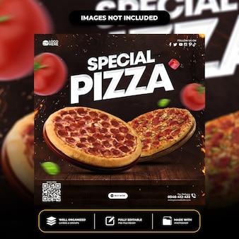 Specjalny szablon posta w mediach społecznościowych delicious pizza