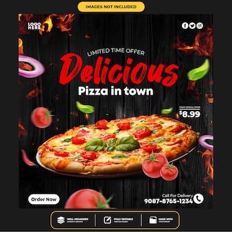 Specjalny szablon postu banner na pizzę w mediach społecznościowych
