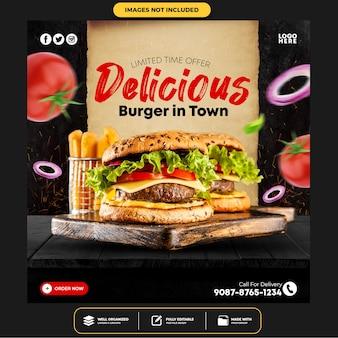 Specjalny szablon postu banner na social media delicious burger