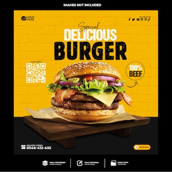 Specjalny szablon postu w mediach społecznościowych z pysznym burgerem