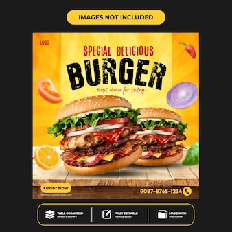 Specjalny szablon postu z banerem w mediach społecznościowych delicious burger