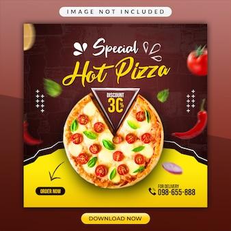 Specjalny szablon promocyjny hot pizza lub restaurant social media
