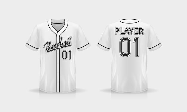 Specyfikacja baseball t shirt makieta na białym tle
