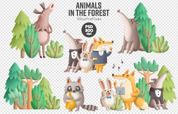 Śpiewaccy zwierzęta w lasowej ilustraci
