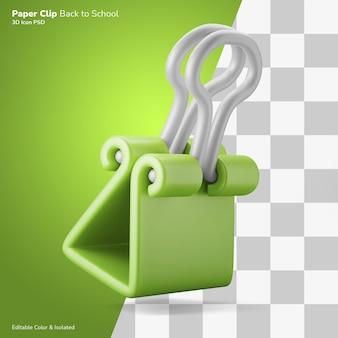 Spinacz do papieru 3d ilustracja ikona edytowalny kolor na białym tle