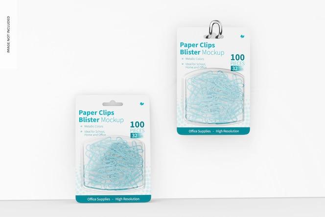 Spinacze do papieru blistry makieta, wiszące i pochylone