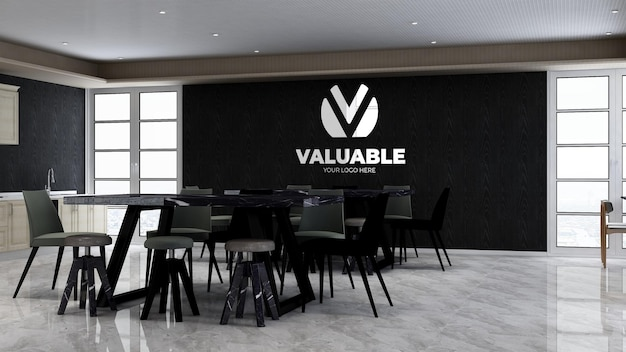 Spiżarnia biurowa lub pokój kuchenny dla firmy branding logo ścienne mocku