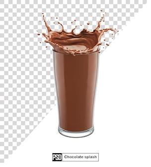 Splash mleka czekoladowego w szklance na białym tle
