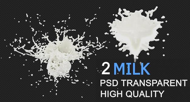 Splash mleka w różnych stylach izolowanych projektów