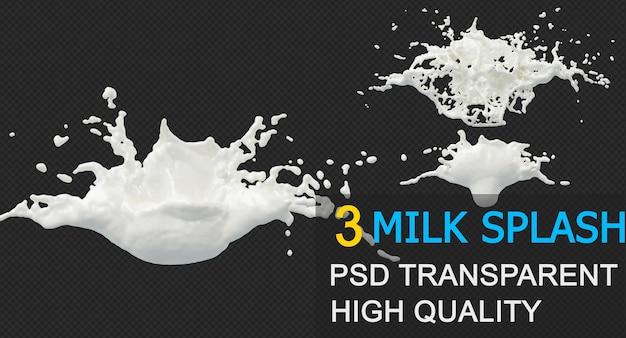 Splash mleka w różnych stylach na białym tle projekt