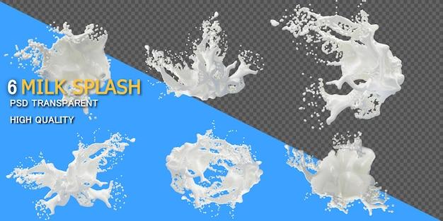 Splash mleka w różnych stylach na białym tle