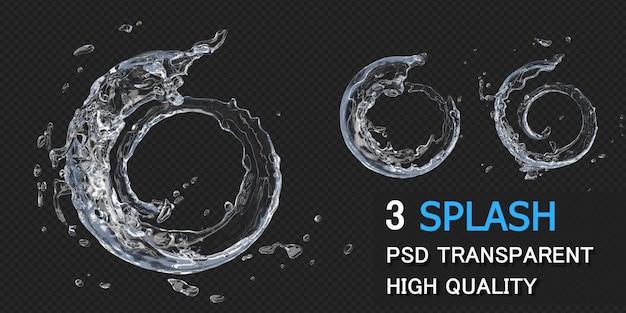 Splash wody okrągłe ramki w renderowaniu 3d na białym tle