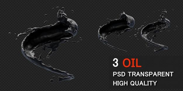 Splashwith kroplami oleju atramentowego w renderowaniu 3d na białym tle