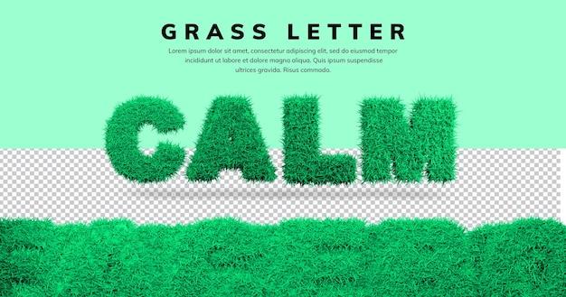 Spokojny efekt tekstowy z projektem litery 3d trawy