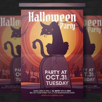 Spooky halloween flyer szablon