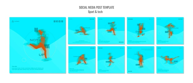 Sport i technika koncepcja szablon mediów społecznościowych post