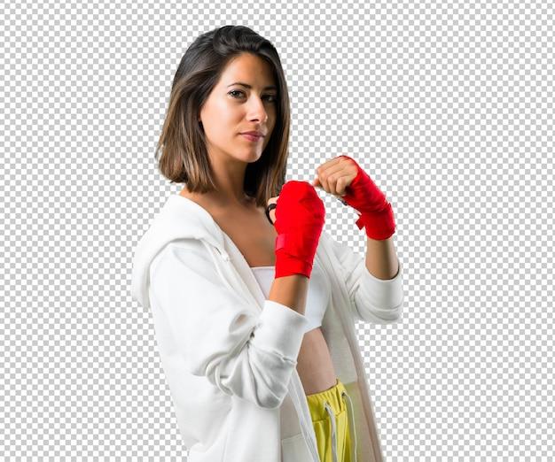 Sport kobieta z bandaże bokserskie