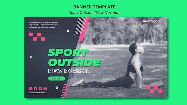 Sport na zewnątrz koncepcja nowy normalny baner