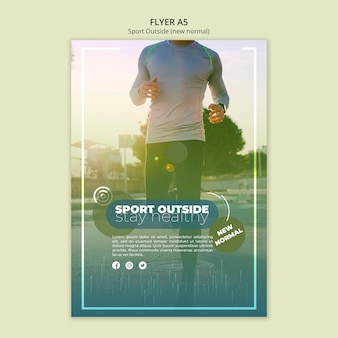 Sport poza koncepcja szablon ulotki