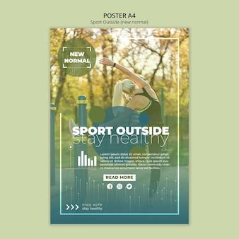Sport poza stylem szablonu plakatu