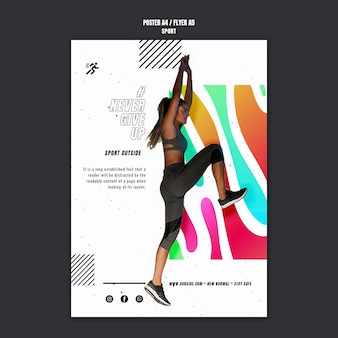 Sport poza szablonem plakatu