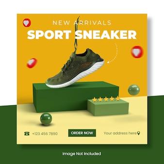 Sport sneaker szablon postu na instagram baner .