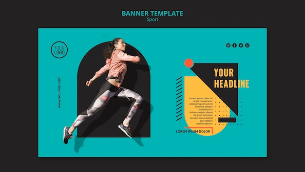 Sportowa kobieta działa szablon transparent