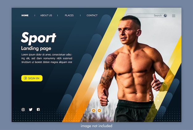 Sportowa strona docelowa z szablonem obrazu
