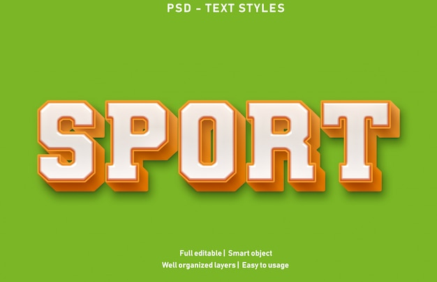 Sportowe efekty tekstowe w stylu premium edytowalne
