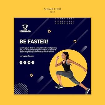 Sportowe szablon ulotki kwadratowe z ćwiczeń kobiety