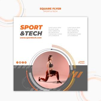 Sportowy i techniczny kwadratowy wzór ulotki