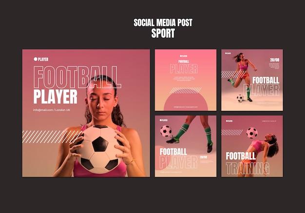 Sportowy szablon postów na instagramie ze zdjęciem kobiety grającej w piłkę nożną