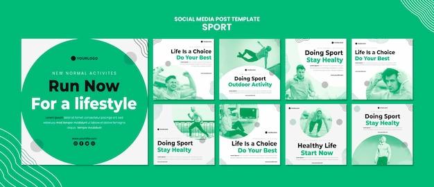 Sportowy szablon postu w mediach społecznościowych