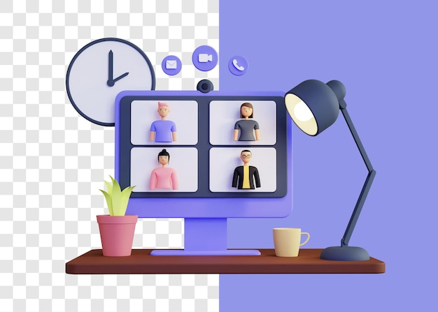 Spotkanie online 3d ilustracja koncepcja