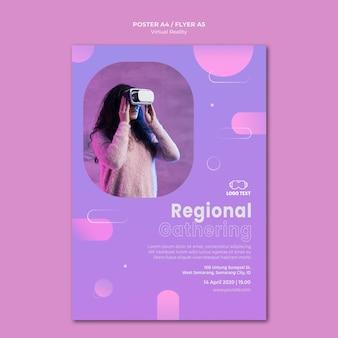 Spotkanie regionalne na szablonie plakatu rzeczywistości wirtualnej