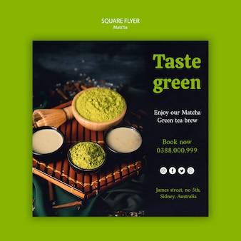 Spróbuj zielonej ulotki matcha z herbacianego kwadratu