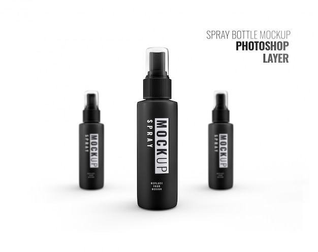 Spryskaj czarną butelkę makieta realistycznego renderowania 3d