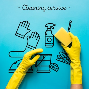 Sprzątanie usługi niebieskie tło