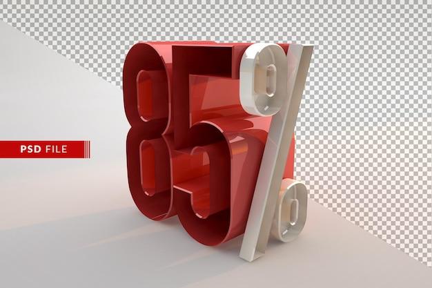Sprzedaż 85% zniżki na promocyjną koncepcję 3d na białym tle