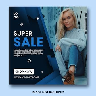 Sprzedaż banner www klasyczny niebieski szablon