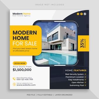 Sprzedaż domu nieruchomości baner mediów społecznościowych i kwadratowy szablon postu na instagramie